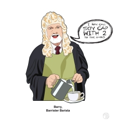 Barrister Barista Print by Zoe Jones